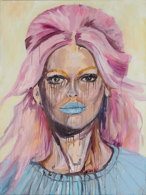 fashion model, fashion, beauty, blonde, portrait, acrylic, painting, pink