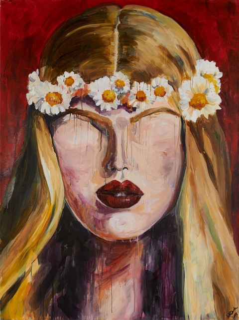 fashion model, fashion, beauty, blonde, portrait, acrylic, painting, flowers