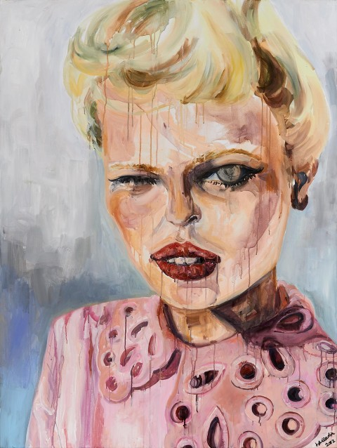 fashion model, fashion, beauty, blonde, portrait, acrylic, painting,