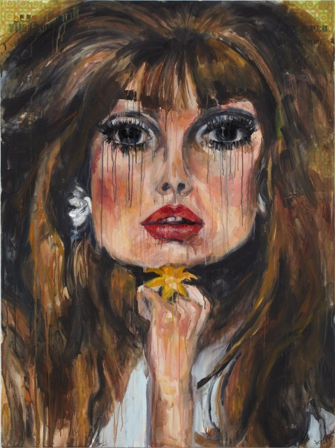 fashion model, fashion, beauty, blonde, portrait, acrylic, painting, jane seymour, 70s