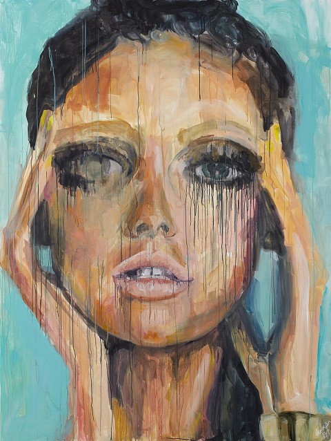 fashion model, fashion, beauty, portrait, acrylic, painting,