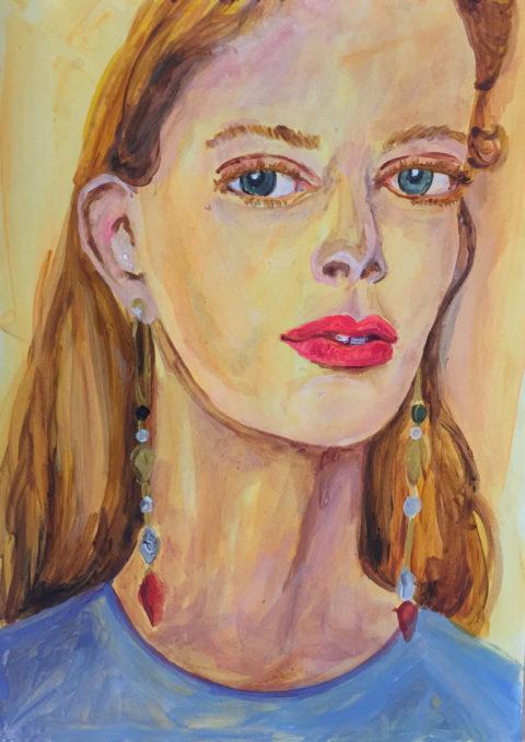 Portraits The gaze of a secret,  29 x 42cm, Acrylic on paper, 2018