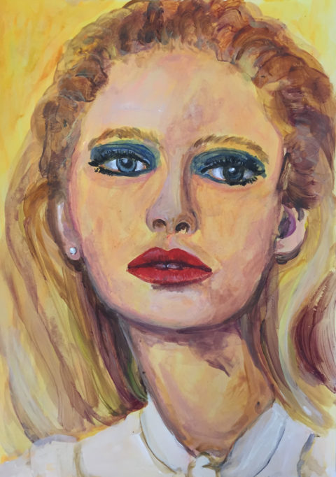 Portraits The gaze of dissociation,  29 x 42cm, Acrylic on paper, 2018